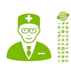 Head physician icon with free bonus vector