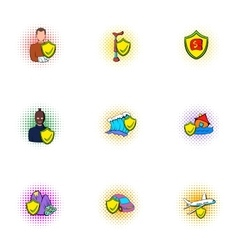 Incident icons set pop-art style vector image vector image