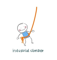 industrial climber hanging on a rope vector image vector image