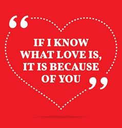 Inspirational love quote if i know what love is it vector
