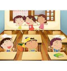 Kids in classroom vector