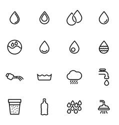 line water icon set vector image