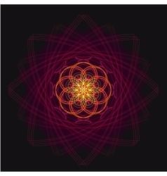 Luxurious geometric purple lotus flower on a dark vector