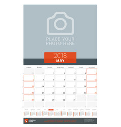 may 2018 wall monthly calendar planner for 2018 vector image vector image