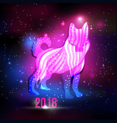 modern abstract dog silhouette with 2018 new year vector image vector image