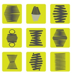 monochrome icon set with springs vector image