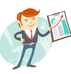 Office man showing a graph vector image