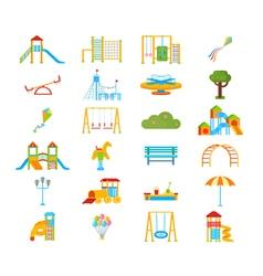 Playground Flat Elements Set vector image