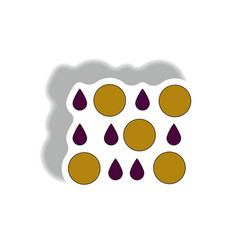 Rain with volcanic elements weather sticker vector