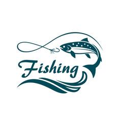 salmon fishing emblem vector image vector image