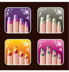 Set of icons of women manicure vector image vector image