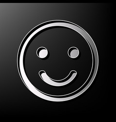 Smile icon gray 3d printed icon on black vector
