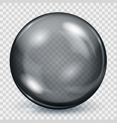transparent black sphere with shadow vector image