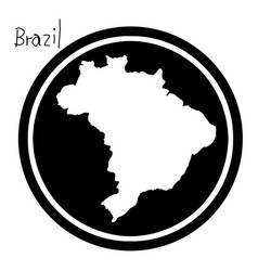 White map of brazil on black circle vector