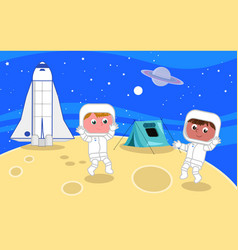 Young astronauts on the moon vector
