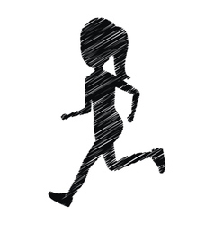 Silhouette girl running icon design isolated vector