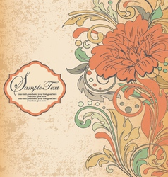 Vintage orange floral invitation card vector