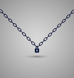 Padlock hanging on the chains Secret safety symbol vector image