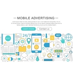 Modern line flat mobile advertising vector