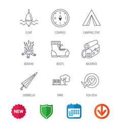 park fishing float and hiking boots icons vector image