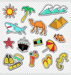 Travel to egypt doodle egyptian landmark stickers vector