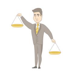 Caucasian businessman holding balance scale vector