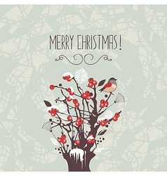 Christmas Winter Berries Shrub vector image