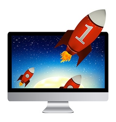 Computer with red rockets vector