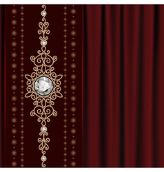 Gold jewelry on drape vector