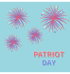 Patriot day fireworks blue sky star and strip vector