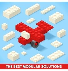 Toy block plane games isometric vector