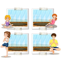 People doing yoga in the room vector