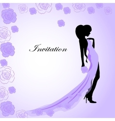 Invitation card with a girl in violet dress vector