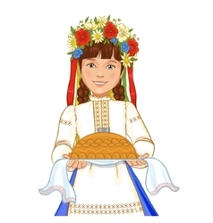 Girl in ukrainian clothes with round loaf vector