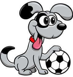 Dog with soccer ball vector