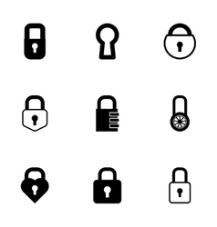 black locks icons set vector image