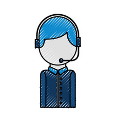 Call center operator with phone headset vector