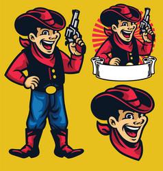 Cheerful young cowboy mascot vector