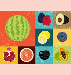 Collection of pop art grunge retro fruits poster vector