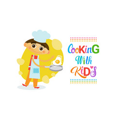 Cooking with kids children culinary classes hobby vector