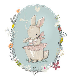 Cute little hares with flowers vector