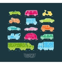 Flat transport icons blue vector image vector image