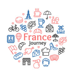 france travel round design template line icon vector image vector image