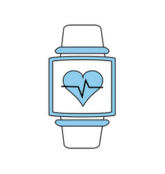 Heart rate wrist monitor fitness band icon image vector