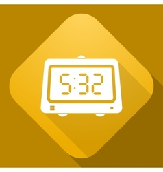 Icon of alarm clock with a long shadow vector