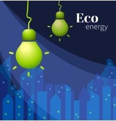 lamp on dark blue city background vector image