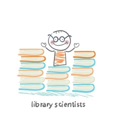Library scientists stands near a lot of books vector