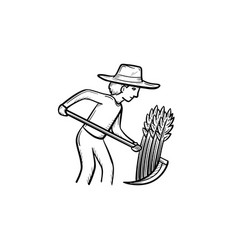 Man mowing grass hand drawn sketch icon vector