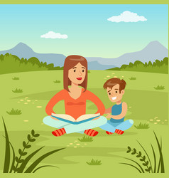 Mother reading a book to her son on natur vector
