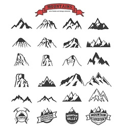 mountains labels and design elements set vector image vector image